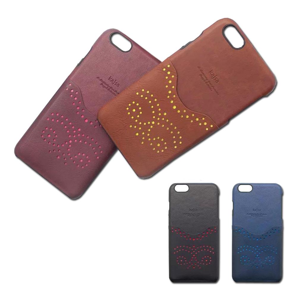 kajsa iPhone 6 Plus 5.5 復古圖騰鏤空真皮插卡保護殼
