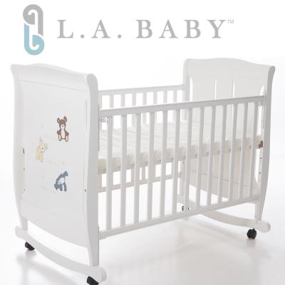 美國 L.A. Baby  芝加哥搖擺大床/童床/木床/嬰兒床(白色)
