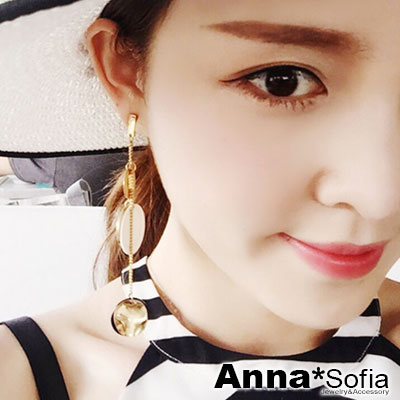 AnnaSofia 珠貝圓藝 長款中大型不對稱耳針耳環(金系)