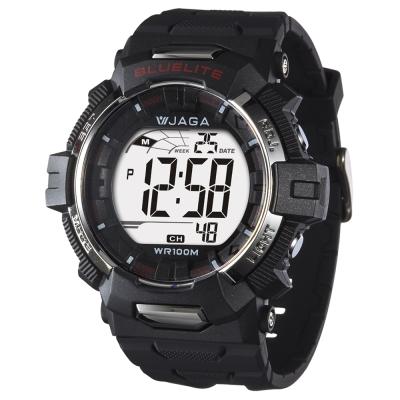 JAGA捷卡 粗礦豪邁多功能電子錶-黑/35mm