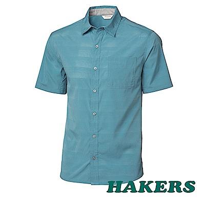 【HAKERS】男-抗UV快乾短袖襯衫 -煙藍