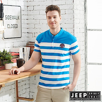 JEEP時尚亨利領條紋短袖POLO衫-天空藍