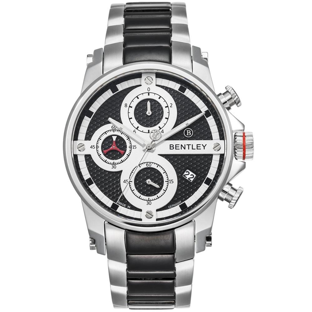 BENTLEY 賓利 Veneur系列 紳裝狩獵者計時手錶-白x黑/43mm