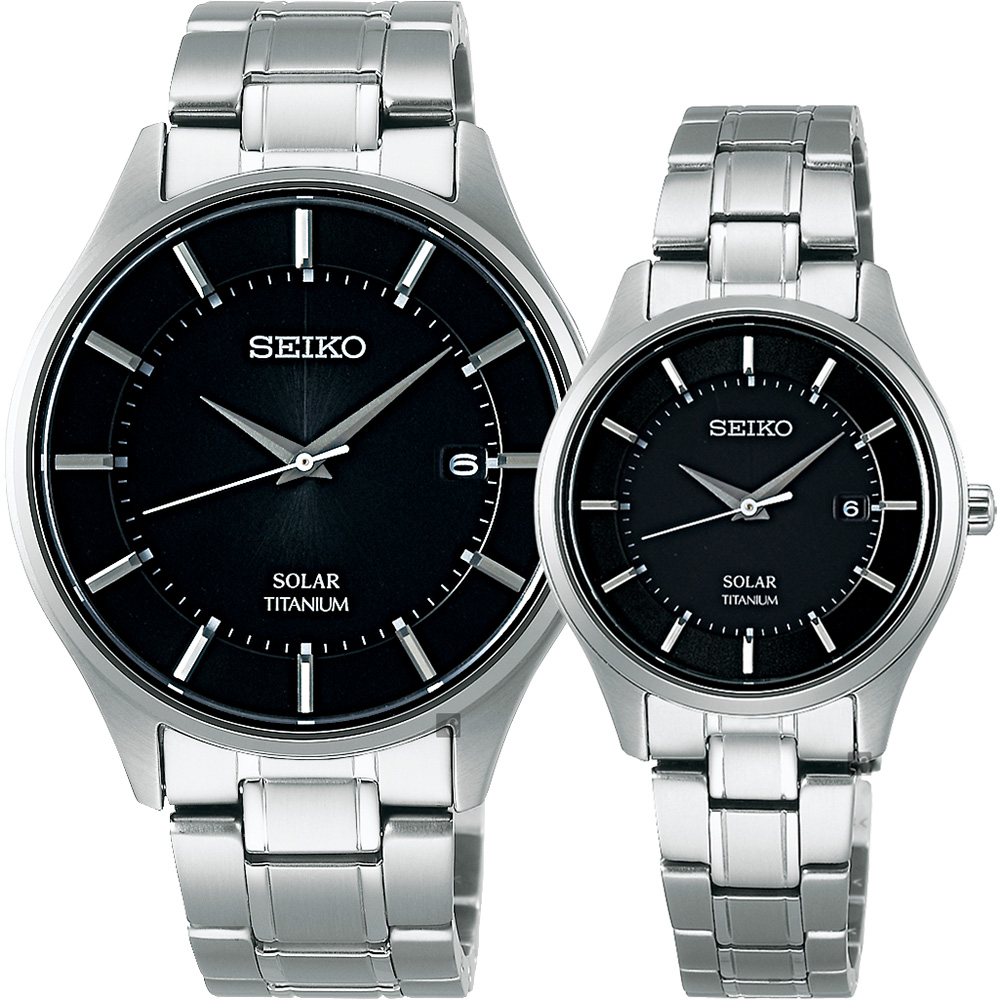 SEIKO精工 SPIRIT SMART 鈦金屬對錶(SBPX103J+STPX043J)