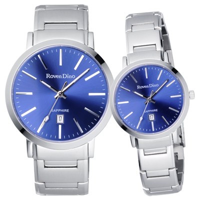 Roven Dino羅梵迪諾 色彩抉擇時尚日期對錶-藍X銀
