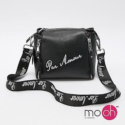 mo.oh 牛皮字母刺繡寬背帶斜背小包包