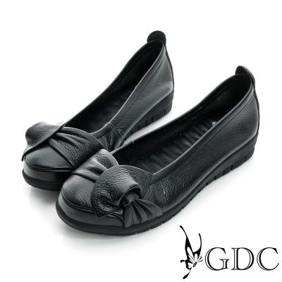 GDC百搭-側蝴蝶加厚真皮平底娃娃鞋-黑色