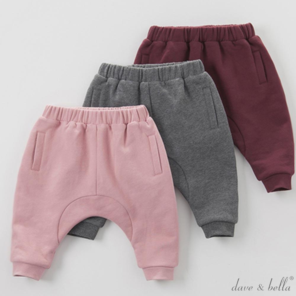 Dave Bella 內刷毛保暖素色棉質縮口長褲