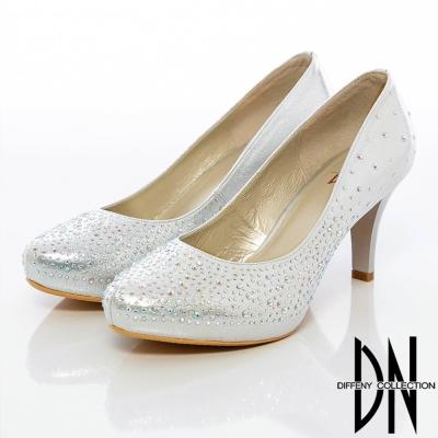 DN-奢華女伶-閃閃水鑽亮面高跟鞋-銀