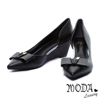 楔形鞋MODA-Luxury-蝴蝶結V形飾釦內側簍