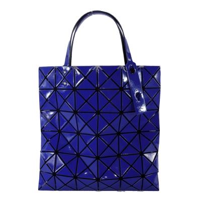 ISSEY MIYAKE 三宅一生BAOBAO幾何方格6x6亮面托特包(寶藍)