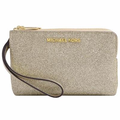 MICHAEL KORS JET SET TRAVEL金字滿版金蔥雙層拉鍊手拿包-金/咖啡