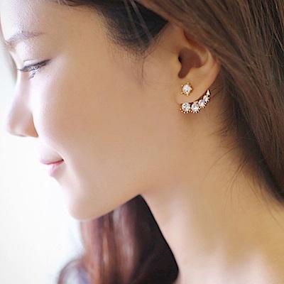 Hera 赫拉 韓劇韓藝瑟同款氣質鑲鑽珍珠無耳洞耳夾