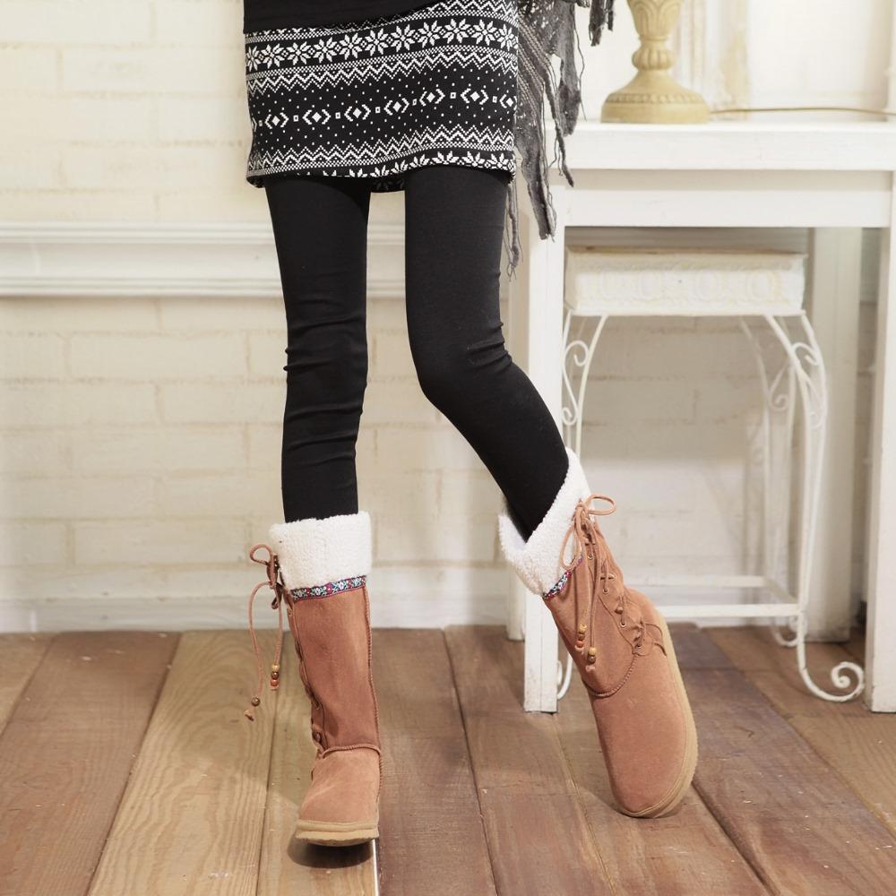 La Belleza暖冬內搭‧雪花結晶點點假兩件毛料短裙內搭褲