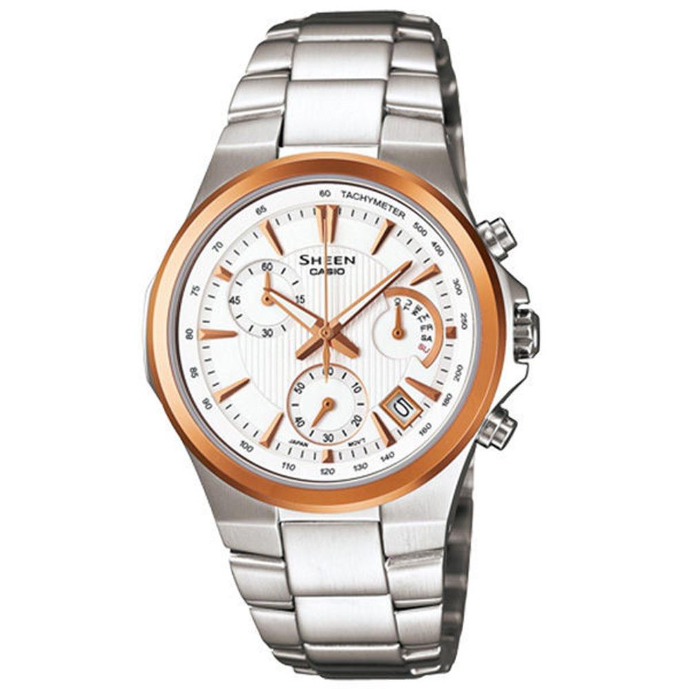 CASIO SHEEN系列 點綴時尚三環都會腕錶-白/32mm