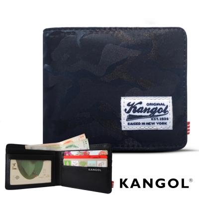 KANGOL 韓式潮流 多夾層橫式短皮夾+鑰匙圈禮盒-迷彩藍