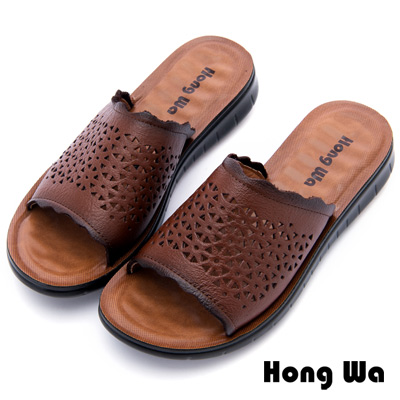 Hong Wa - 英倫復古刷舊柔軟休閒拖鞋 - 棕