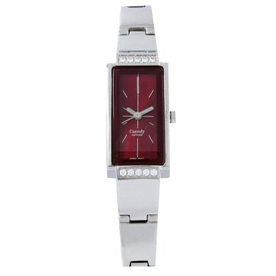 【Canody】時尚名媛晶鑽腕錶(紅)