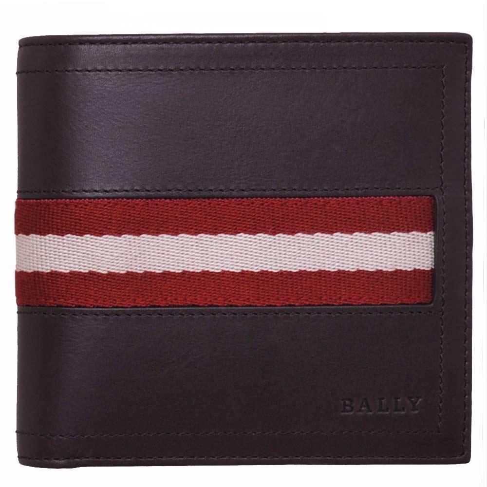 BALLY TYE 經典紅白條紋織帶皮革對折零錢短夾(巧克力)