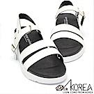 【AIRKOREA】韓國空運皮革質感氣墊美體增高涼鞋 白