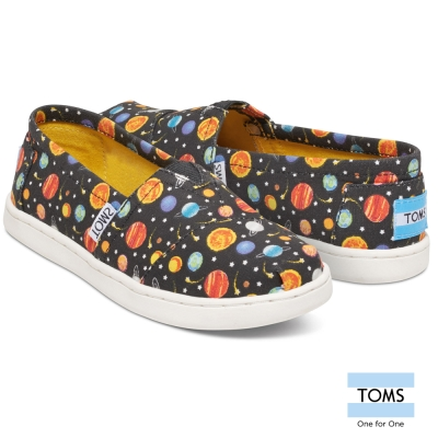 TOMS-宇宙行星懶人鞋-孩童款-黑