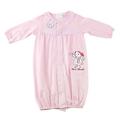 愛的世界 純棉小花兔長袖兩用嬰衣/3~6M