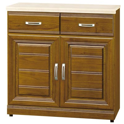 時尚屋 帕爾樟木色實木2.7尺石面餐櫃