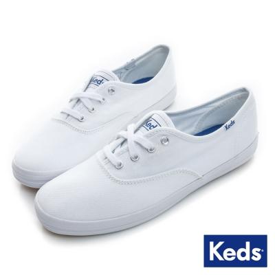 Keds 品牌經典綁帶休閒鞋-白色
