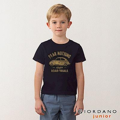 GIORDANO 童裝英文口號復古造型純棉印花T恤-26 標誌黑