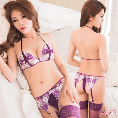 吊襪帶 紫白撞色刺繡繞頸式比基尼四件組(紫F) Lorraine