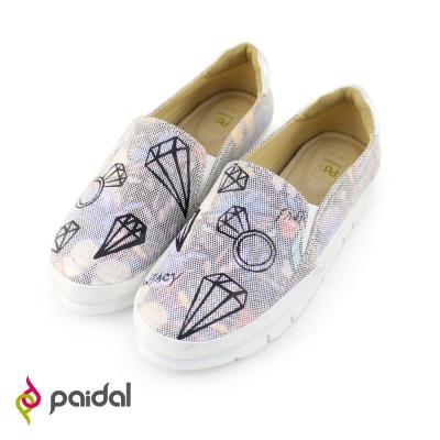 Paidal街頭鑽石印花輕運動休閒鞋樂福鞋-絢麗白