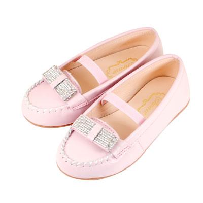 Swan天鵝童鞋-全真皮水鑽蝴蝶結莫卡辛皮鞋 3803-粉