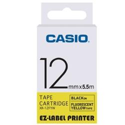 CASIO  標籤機專用特殊色帶-12mm(瑩光黃底黑字)XR-12FYW1