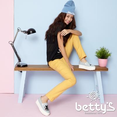 betty-s貝蒂思-褲頭鬆緊格紋繡線彈性長褲-銘黃