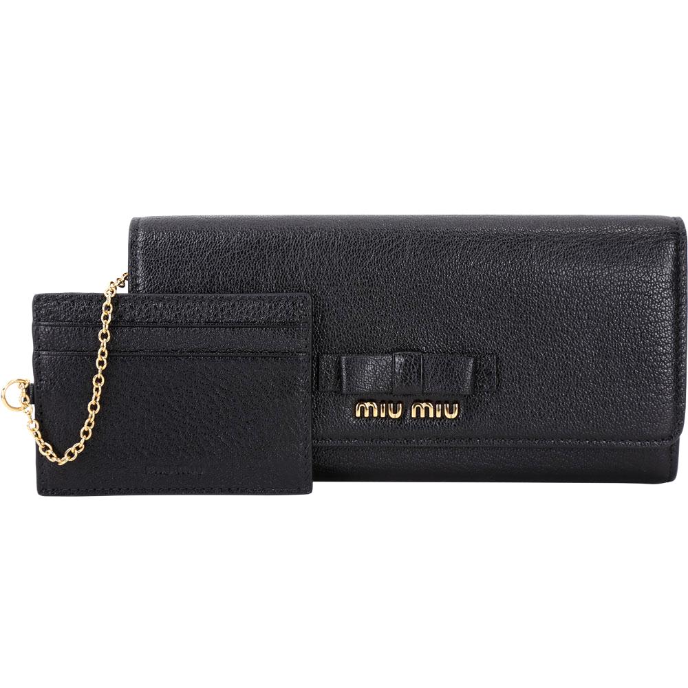 miu miu Madras 蝴蝶結山羊皮釦式長夾(黑色/附可拆式證夾)