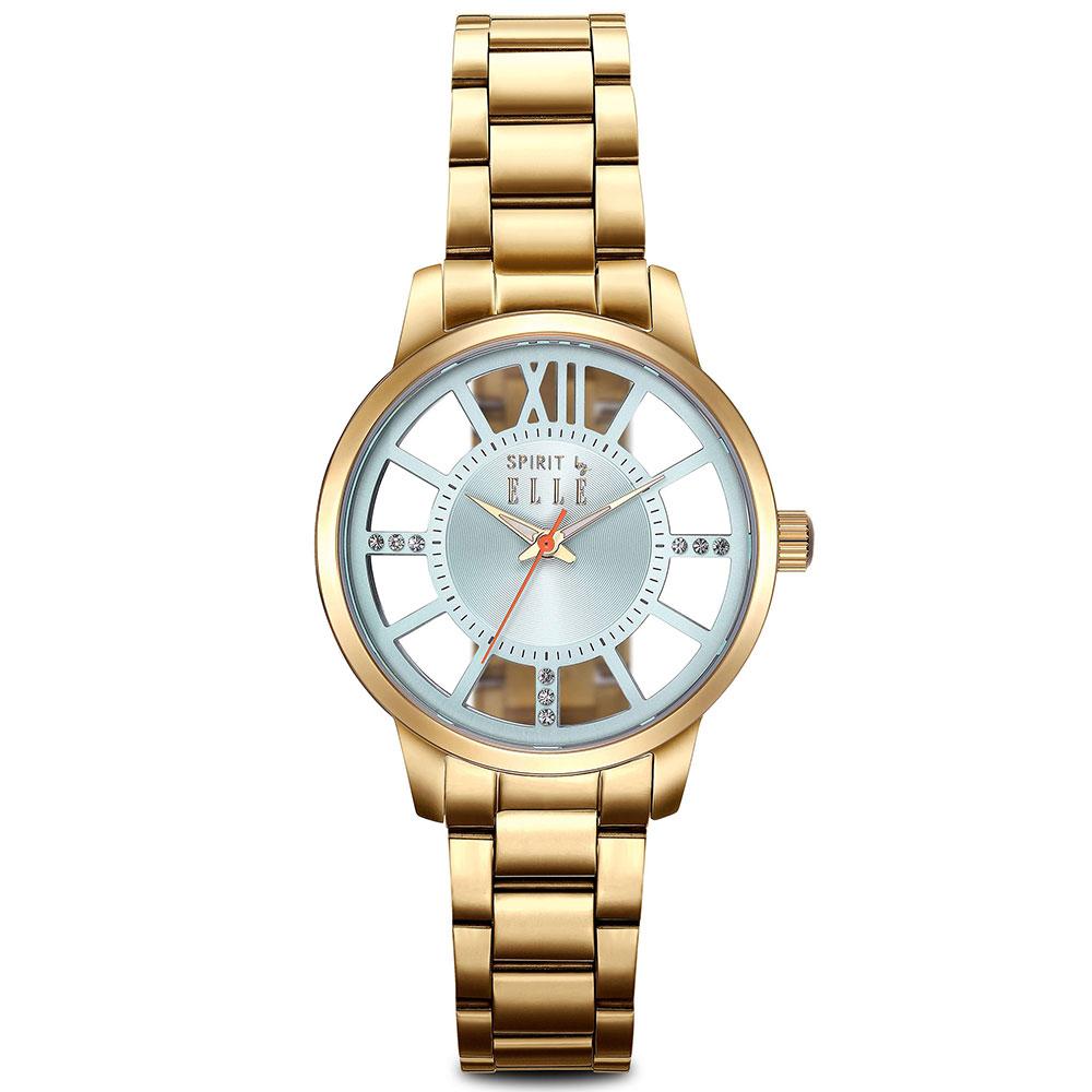 ELLE 獨特鏤空錶盤不鏽鋼時尚腕錶-銀/36mm @ Y!購物