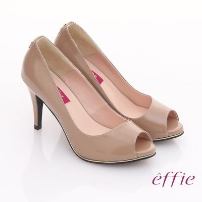 effie 都會風情 全真皮素面金色飾帶魚口高跟鞋 卡其色