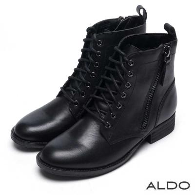 ALDO 原色真皮鞋面金屬拉鍊綁帶短靴~尊爵黑色