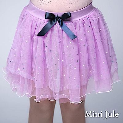 Mini Jule 童裝-褲裙 閃亮愛心波浪鬆緊褲裙(紫)