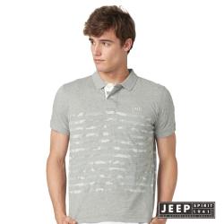 JEEP 翻玩經典創意迷彩條紋短袖POLO衫 灰色 (合身版)