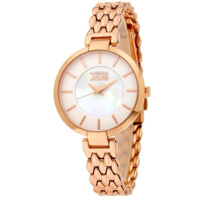 NATURALLY JOJO 蟒蛇紋 珍珠母貝不繡鋼腕錶~ 白x玫瑰金34mm