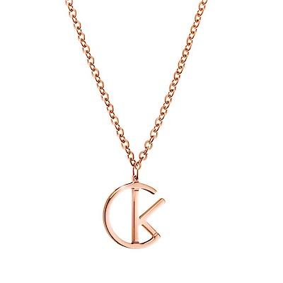 CALVIN KLEIN 誓約系列 玫瑰金短墜飾項鍊