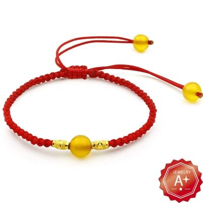 A+ 金彩一生-黃水晶 轉運招財紅繩手鍊