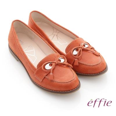 effie 俐落職場 全真皮絨面細帶蝴蝶結飾平底鞋 橘