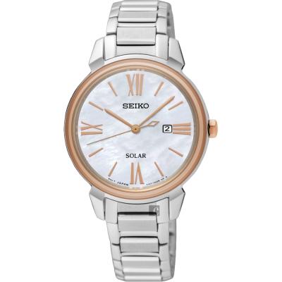 SEIKO精工 SOLAR 太陽能日系女錶(SUT326P1)-珍珠貝x銀/32mm