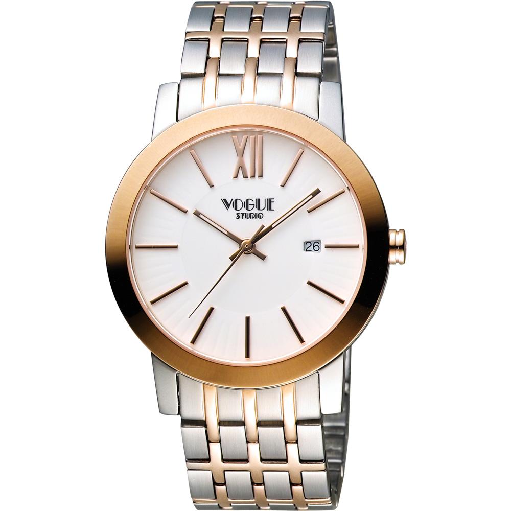 VOGUE 尊爵時尚羅馬腕錶-白x雙色版/40mm