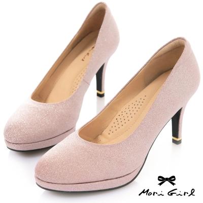 Mori girl MIT台灣製細緻亮片羊皮高跟鞋 粉紫