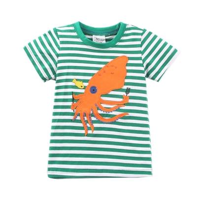 jumping meters歐美風格設計 小童中童男童短棉T居家外出 歡樂章魚 白綠色