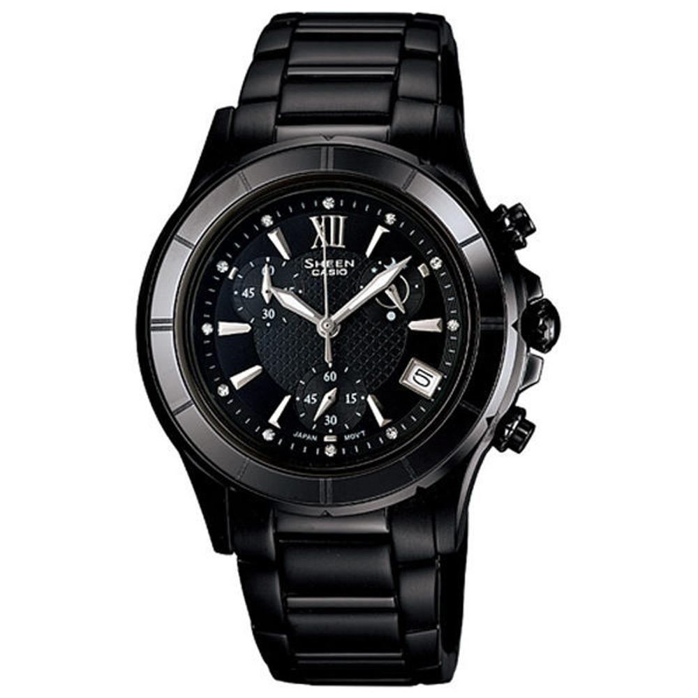 CASIO SHEEN 小資美人陶瓷三環晶鑽腕錶(黑)-35mm