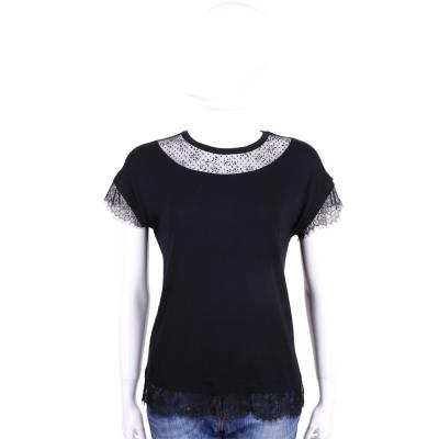 BLUGIRL 黑色蕾絲拼接短袖上衣